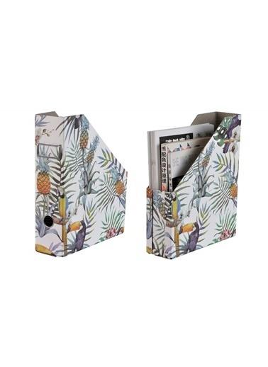 Bosphorus 25 X 8 X 31 Cm Papağan Ve Yaprak Desenli Katlanabilir Kitap Ve Dergi Düzenleyici Klasörlük Beyaz